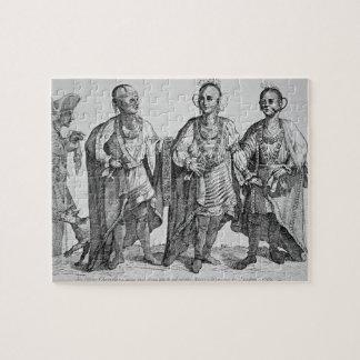 Tres jefes cherokees americanos, 1762 (grabado) rompecabezas con fotos