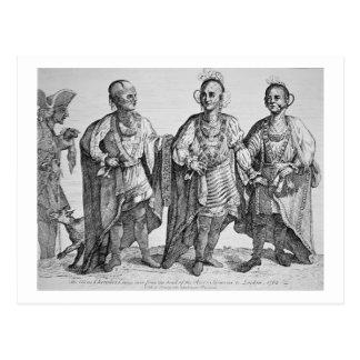 Tres jefes cherokees americanos, 1762 (grabado) tarjetas postales
