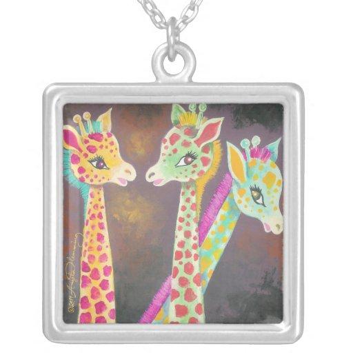 Tres jirafas colgante cuadrado