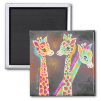 Tres jirafas imán cuadrado
