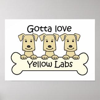 Tres laboratorios amarillos póster