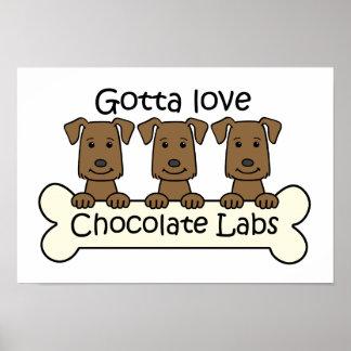 Tres laboratorios del chocolate póster