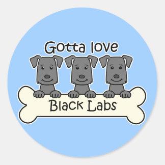 Tres laboratorios negros pegatina redonda