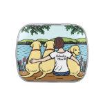 Tres Labradors amarillo y mamá Latas De Caramelos