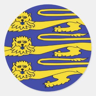 Tres leones de Inglaterra Pegatina Redonda