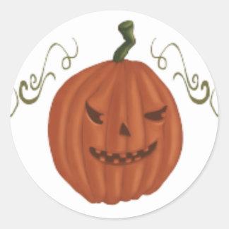 Tres linternas de Jack o para Halloween Etiquetas Redondas
