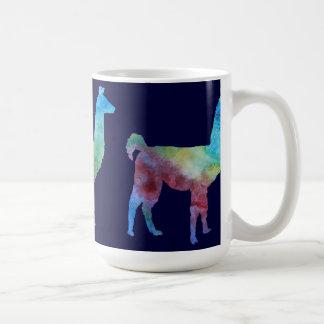 Tres llamas delgadas de Colorwashed Taza Básica Blanca