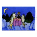Tres lobos en nieve felicitaciones