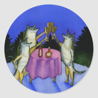 Tres lobos en nieve pegatinas redondas