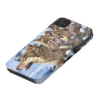 Tres lobos hermosos - añada su nombre iPhone 4 protector