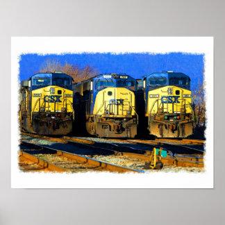 Tres locomotoras diesel poster