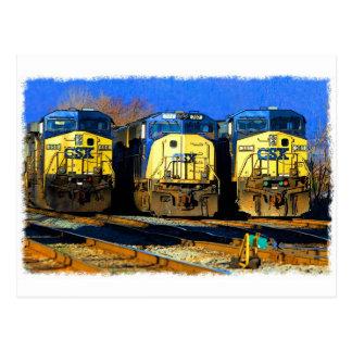 Tres locomotoras diesel postal