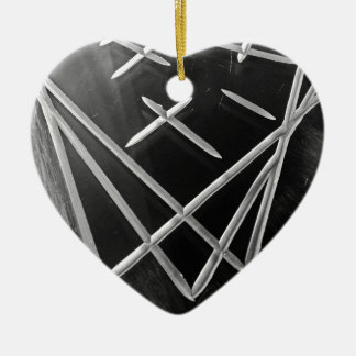 Tres maneras adorno navideño de cerámica en forma de corazón