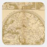 Tres mapas coloreados pegatina cuadrada