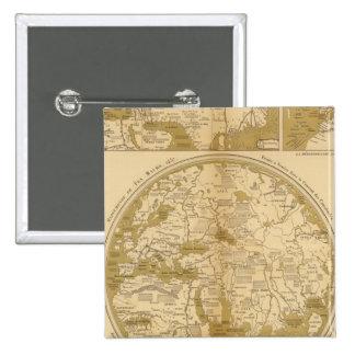 Tres mapas coloreados pin cuadrada 5 cm