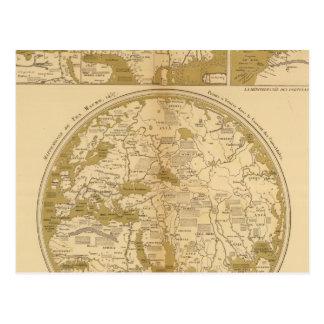 Tres mapas coloreados postal