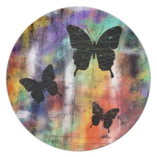 Tres mariposas platos para fiestas