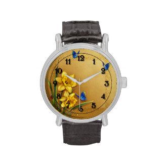 Tres mariposas y narcisos relojes de mano