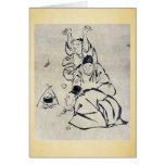 Tres monjes o viajeros que encienden un fuego tarjeton