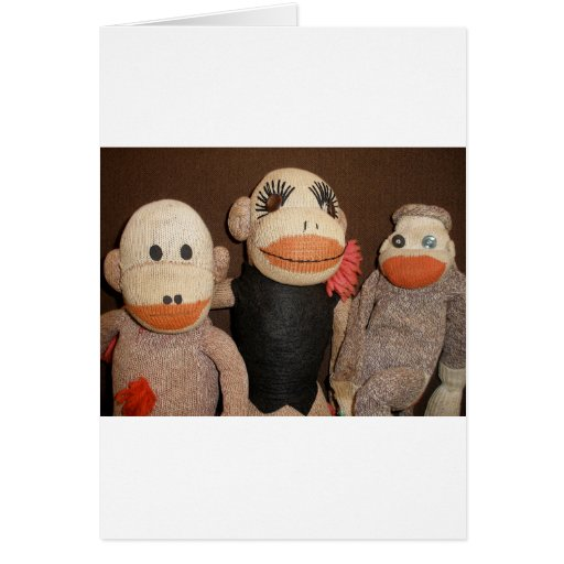 tres monos del calcetín felicitación