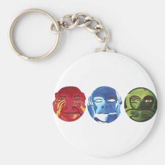 Tres monos llaveros