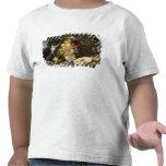 Tres monos que roban la fruta (aceite en lona) camisetas