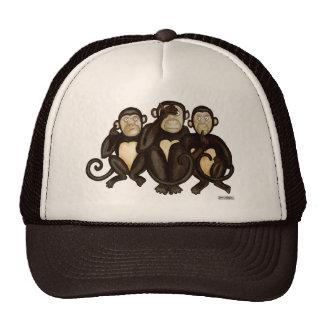 Tres monos sabios gorros bordados