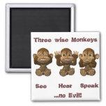 tres monos sabios imán