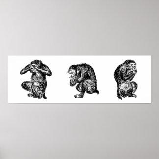 Tres monos sabios no ven, oyen, y hablan ningún póster