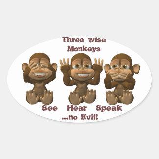 tres monos sabios pegatina ovalada