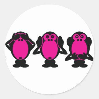 Tres monos sabios pegatina redonda