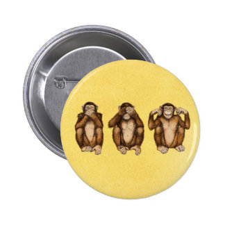 Tres monos sabios pin redondo 5 cm