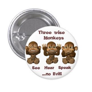 tres monos sabios pin redondo 2,5 cm