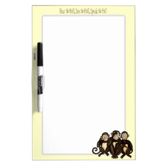 Tres monos sabios pizarras blancas