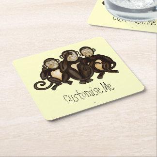 Tres monos sabios posavasos de cartón cuadrado