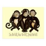 Tres monos sabios postal