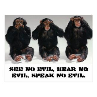 Tres monos sabios postales