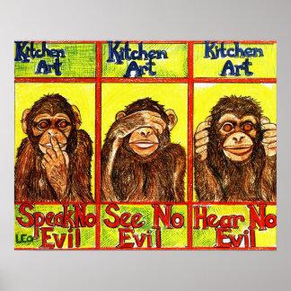 Tres monos sabios póster