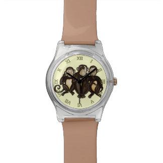 Tres monos sabios relojes de pulsera