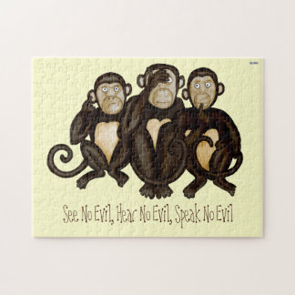 Tres monos sabios rompecabezas con fotos