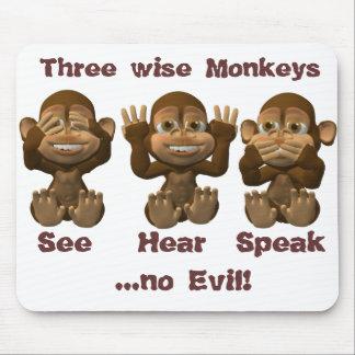 tres monos sabios alfombrilla de raton