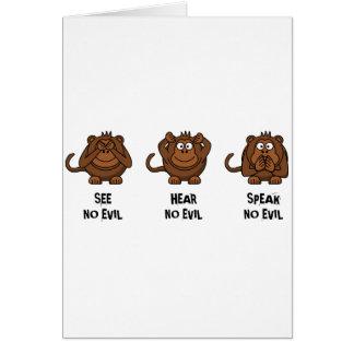 Tres monos sabios tarjeta de felicitación