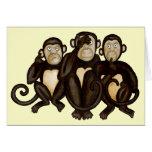 Tres monos sabios tarjeton