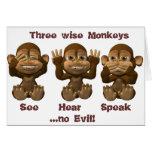 tres monos sabios tarjetón