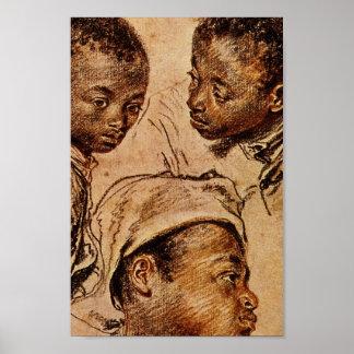 Tres muchachos del negro impresiones