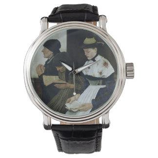 Tres mujeres en la iglesia, 1882 reloj de mano