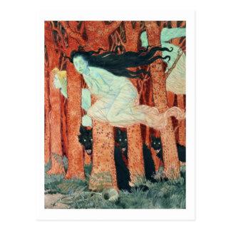 Tres mujeres y tres lobos (w/c) postal