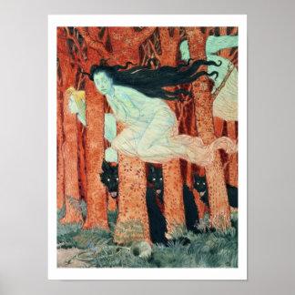 Tres mujeres y tres lobos (w/c) póster