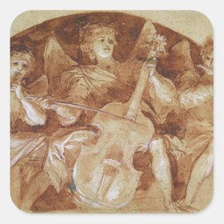 Tres músicos del ángel pegatinas cuadradas
