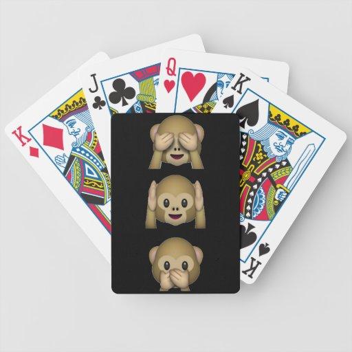 Tres naipes sabios de los monos barajas de cartas